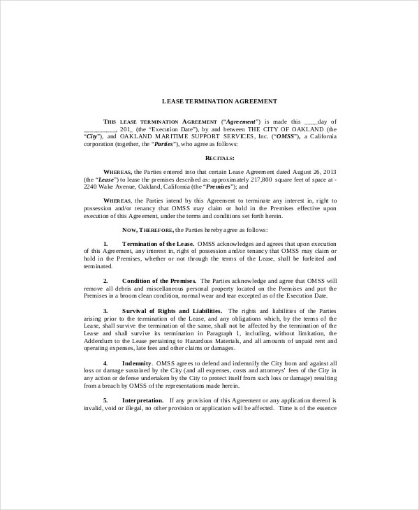 Sample Lease Termination Agreement Well Landlord Lease - lease termination letter example