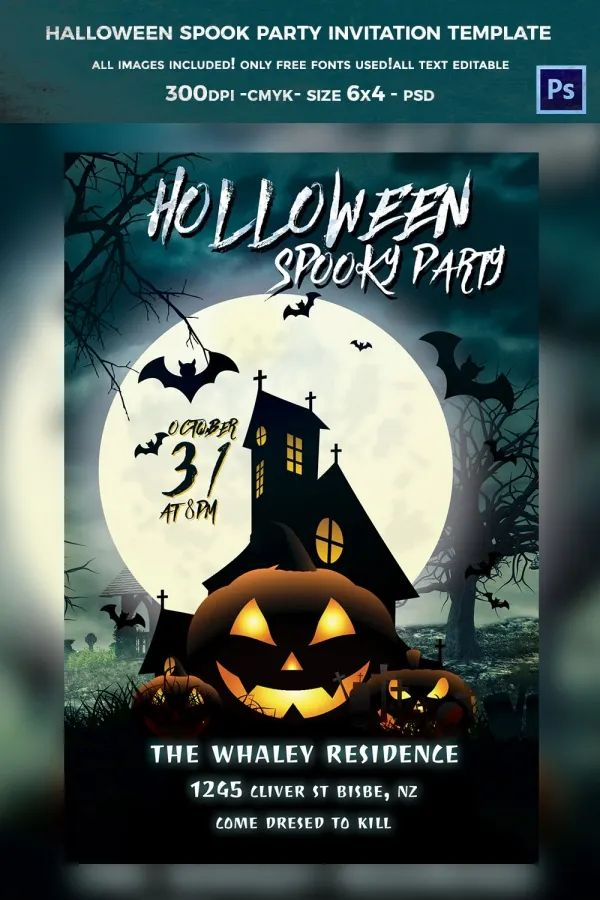 free halloween party invitation template