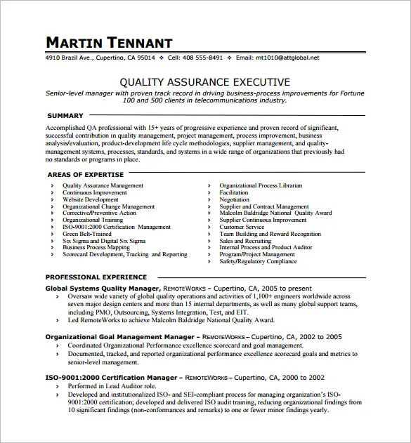 quality assurance experience resume