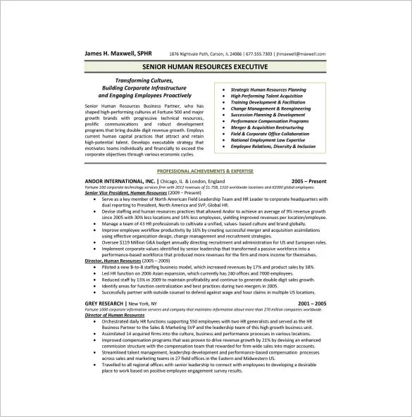 executive resume template download