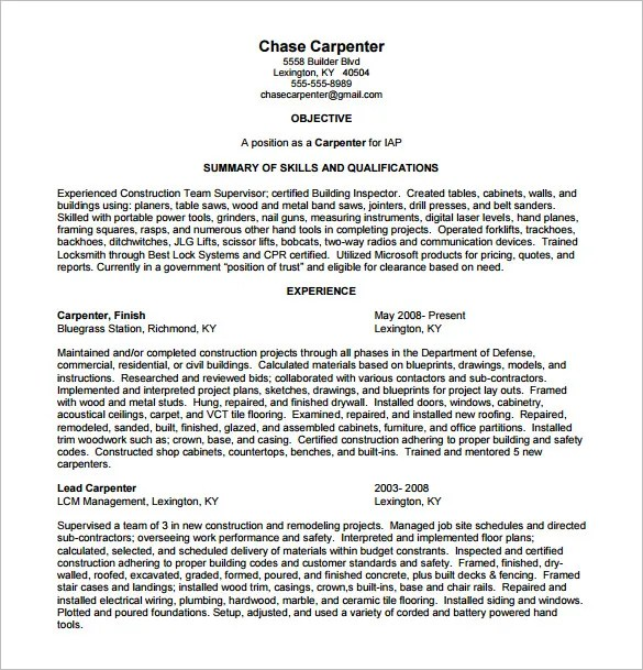 Carpenter Resume Template \u2013 8+ Free Word, Excel, PDF Format Download - Carpenter Resume Templates