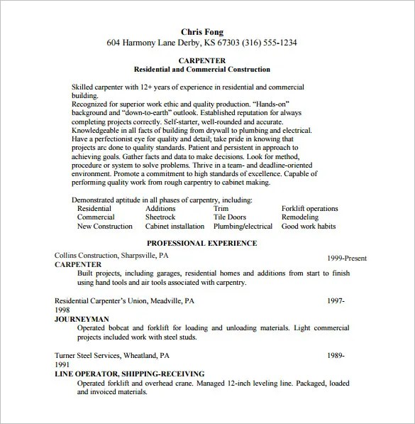 Carpenter Resume Template \u2013 8+ Free Word, Excel, PDF Format Download - rough carpenter sample resume