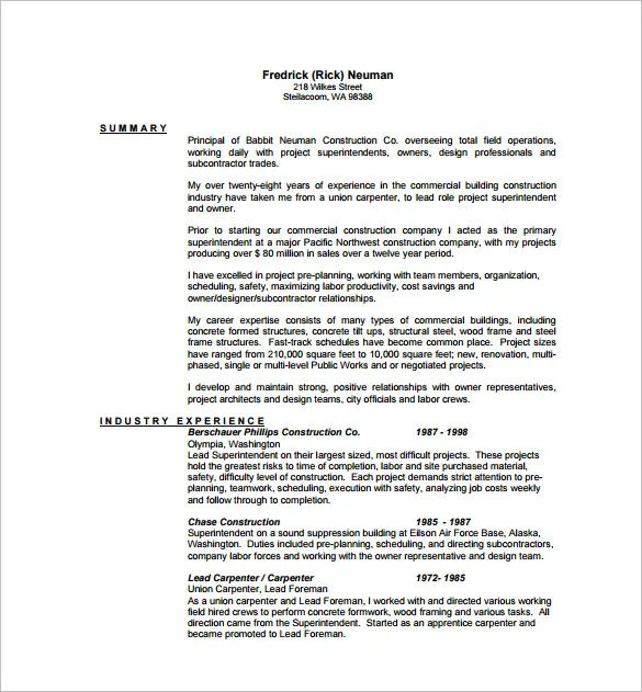 examples of functional lead carpenter resume