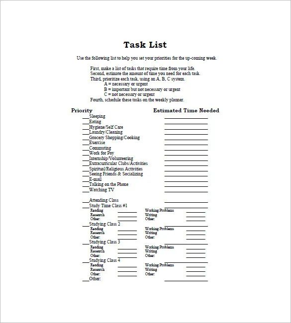 to do task list template