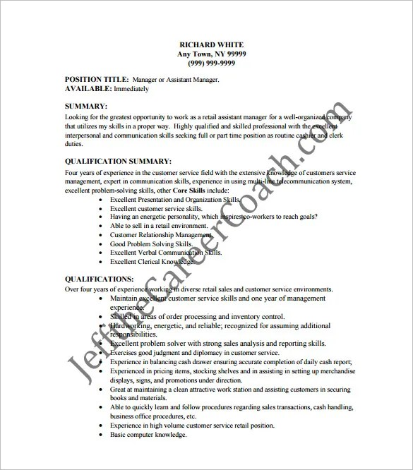 Cashier Resume Template \u2013 11+ Free Word, Excel, PDF, PSD Format