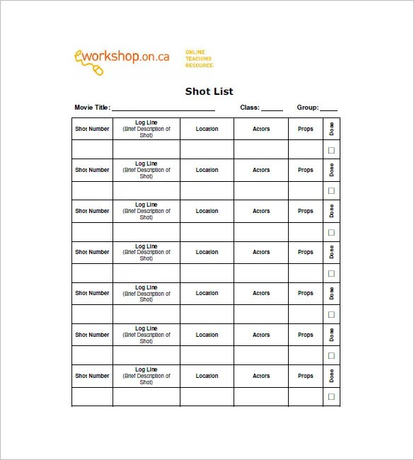 Shot List Template - 12+ Free Sample, Example, Format Free