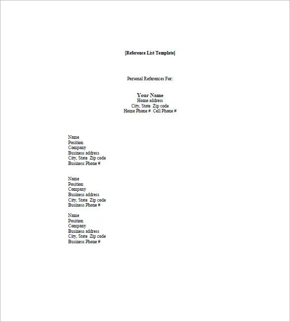 sample professional reference list