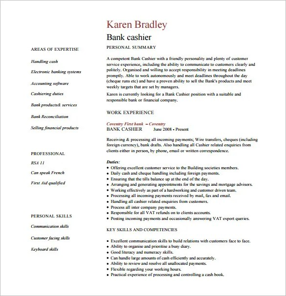 Cashier Resume Template - 9+ Free Word, Excel, PDF, PSD Format