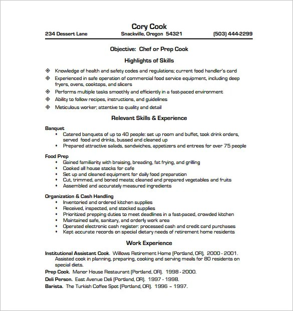 sample resume cook - Ozilalmanoof