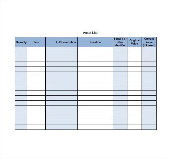 Asset List Template u2013 8+ Free Sample, Example, Format Download - sample to do list