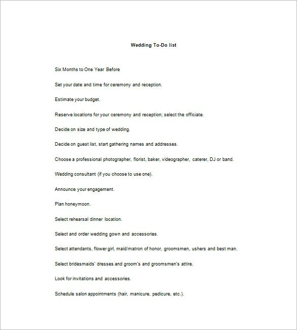 Wedding To Do List \u2013 8+ Free Sample, Example, Format Download