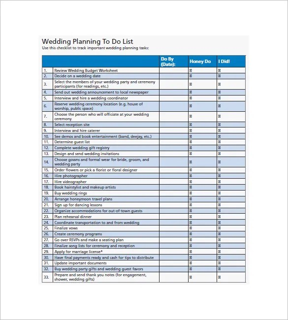 Wedding To Do List \u2013 8+ Free Sample, Example, Format Download - sample to do list