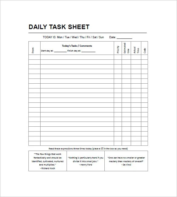 daily task sheet template - troop to task example