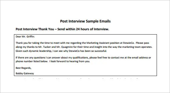 14+ Thank You Email After Interview - DOC, Excel, PDF Free