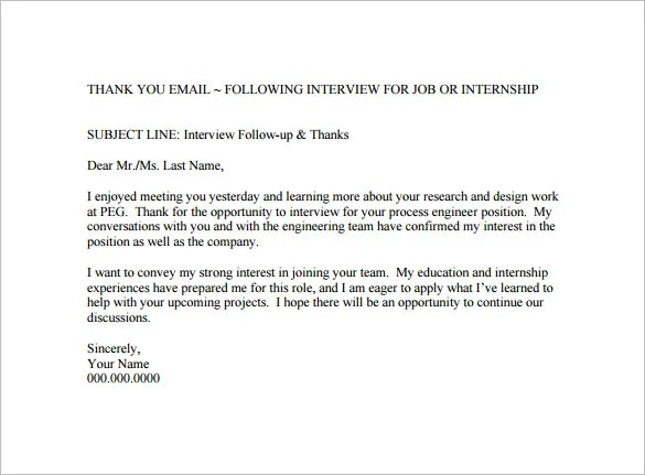Thank You Email After Interview \u2013 17+ Free Word, Excel, PDF Format - thank you for the opportunity to interview