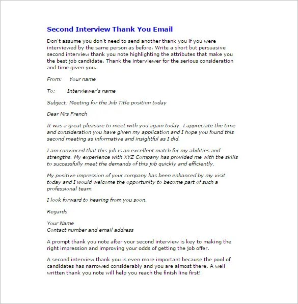 Thank You Email After Interview u2013 17+ Free Word, Excel, PDF Format - thank you email template