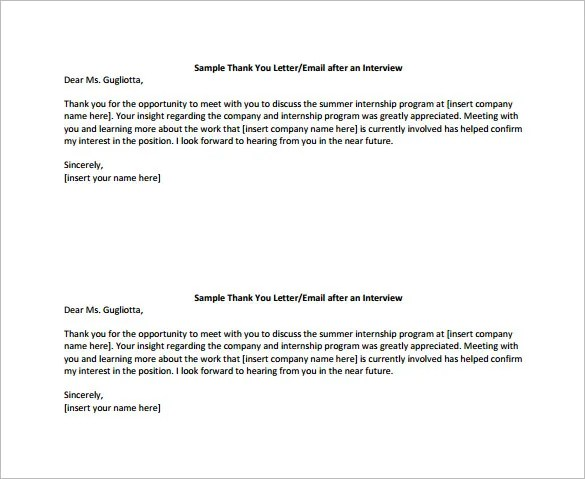 Job Interview Thank You Letter And Email Examples Thank You Email After Interview – 17 Free Word Excel