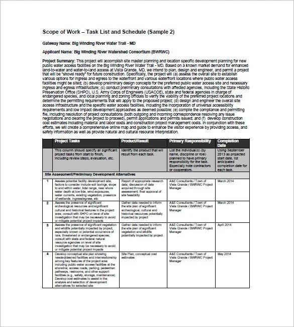 Project Task List Template \u2013 10+ Free Sample, Example, Format