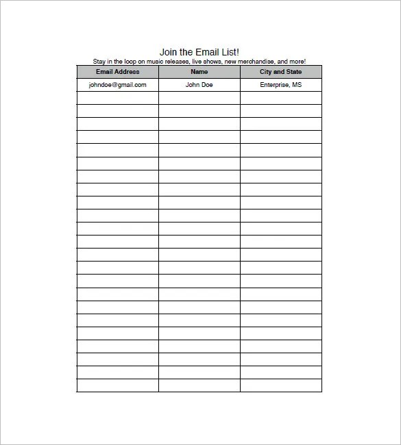 Email List Template \u2013 10+ Free Sample, Example, Format Download
