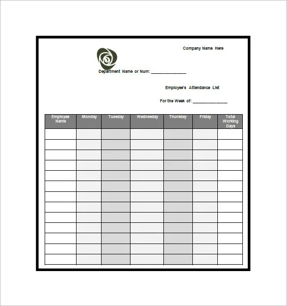 Attendance Sheet Template Word Marketing Internship Resume - attendance sheet template word