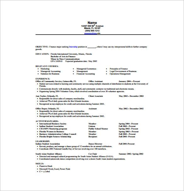 Internship Resume Template u2013 11+ Free Word, Excel, PDF , PSD - finance student resume
