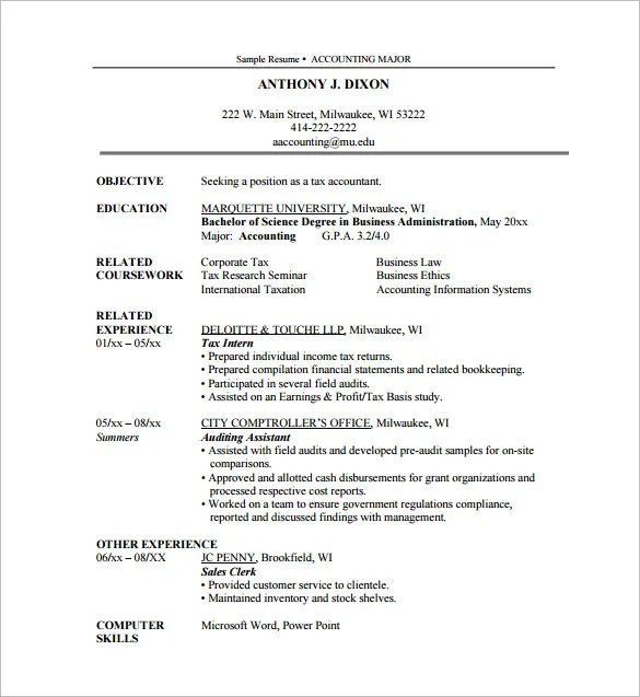 sample accounting internship resume - Onwebioinnovate