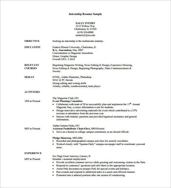 10+ Internship Resume Templates - DOC, Excel, PDF , PSD Free - Sample Resume For An Internship