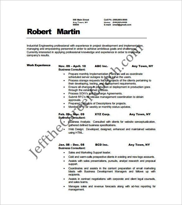 11+ Sample Consultant Resume Templates - Free Word, Excel, PDF - business development consultant sample resume