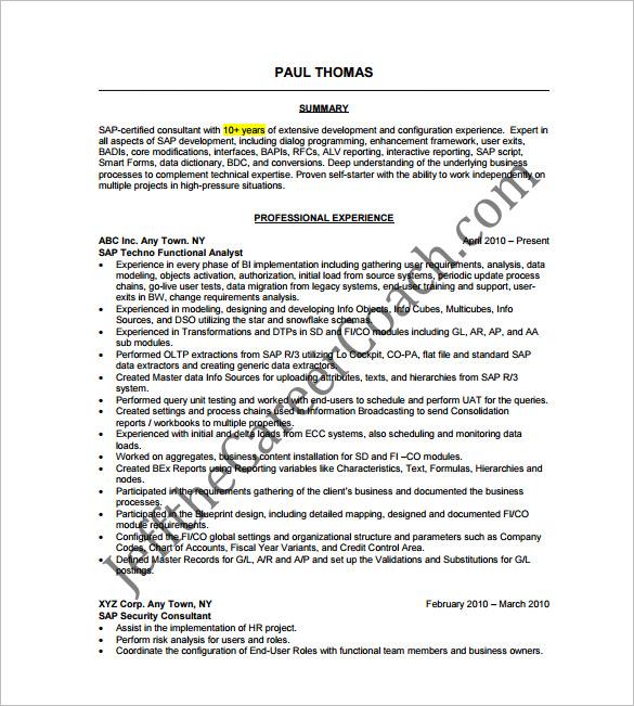 sap security resume template