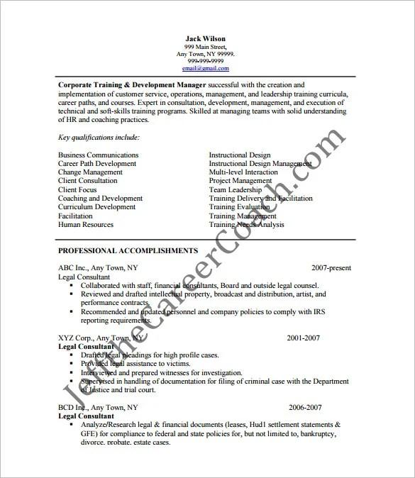11+ Sample Consultant Resume Templates - Free Word, Excel, PDF - legal consultant resume