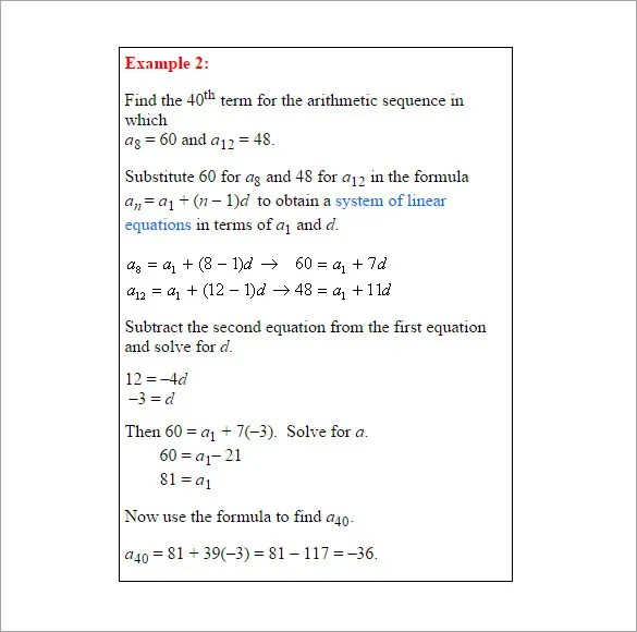 Arithmetic Sequence Examples \u2013 10+ Free Word, Excel, PDF Format - arithmetic sequence example