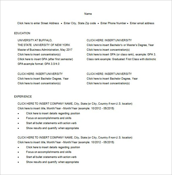 Master of Business Administration Resume Template \u2013 8+ Free Word