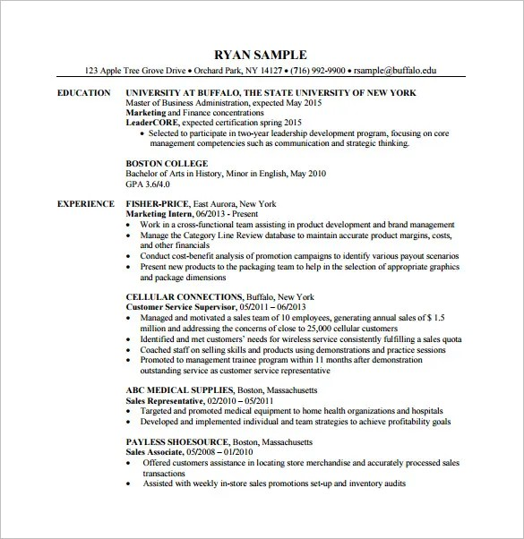 7+ Master of Business Administration Resume Template - DOC, Excel