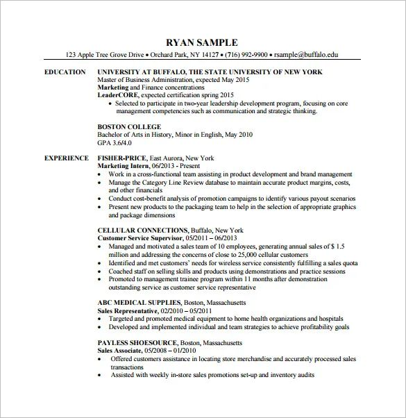 sample resume for masters degree application