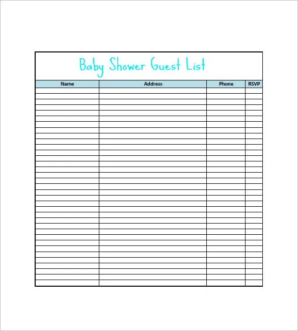 Baby Shower Gift List Template u2013 8+ Free Sample, Example, Format - guest list sample