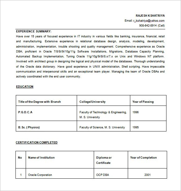 6+ Database Administrator Resume Templates - DOC, Excel, PDF Free