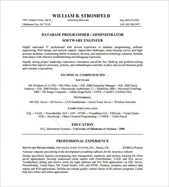 database admin resume sample