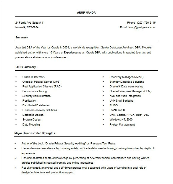 Oracle Database Architect Sample Resume colbro