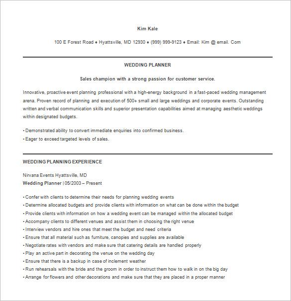 8+ Event Planner Resume Templates- DOC, Excel, PDF Free  Premium