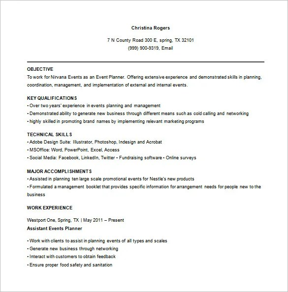 Event Planner Resume Template \u2013 9+ Free Word, Excel, PDF Format - event planner resumes