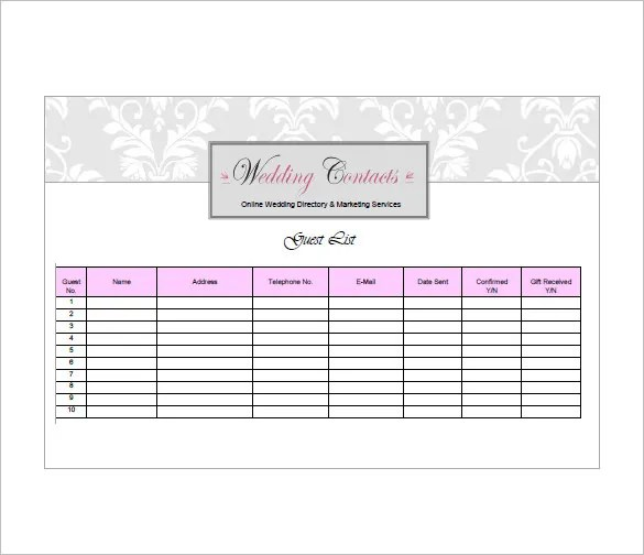 Wedding Guest List Template \u2013 10+ Free Sample, Example, Format - sample wedding guest list