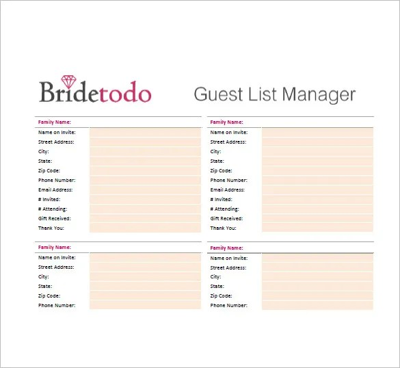 Wedding Guest List Template \u2013 10+ Free Sample, Example, Format