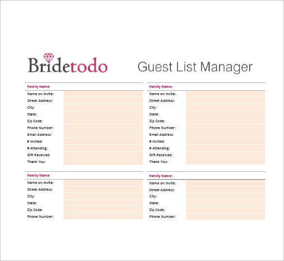 Wedding Guest List Template \u2013 10+ Free Sample, Example, Format - wedding guest list