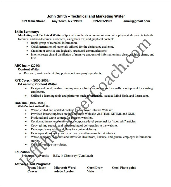 Writer Resume Template \u2013 14+ Free Word, Excel, PDF Format Download - content writer resume