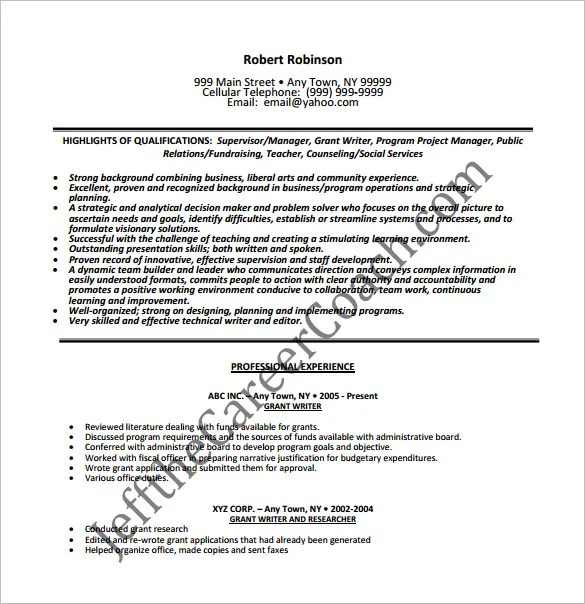 Writer Resume Template \u2013 14+ Free Word, Excel, PDF Format Download