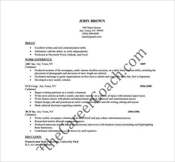Writer Resume Template \u2013 14+ Free Word, Excel, PDF Format Download