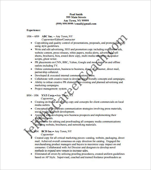 13+ Writer Resume Templates - DOC, Excel, PDF Free  Premium Templates