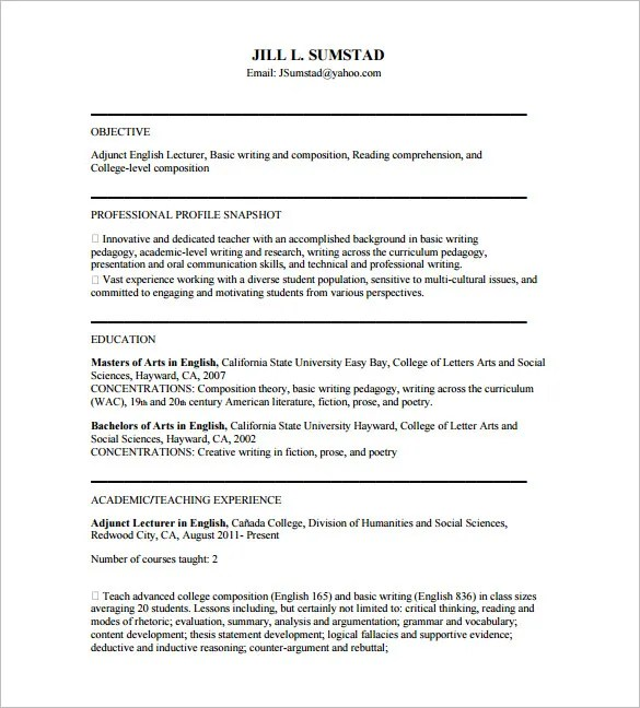 Tutor Resume Template \u2013 11+ Free Word, Excel, PDF Format Download