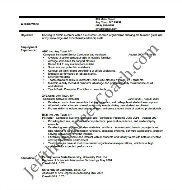 Tutor Resume Template \u2013 11+ Free Word, Excel, PDF Format Download - tutor resume objective
