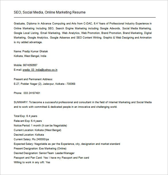 SEO Executive Resume Template \u2013 12+ Free Word, Excel, PDF Format - social media analyst sample resume
